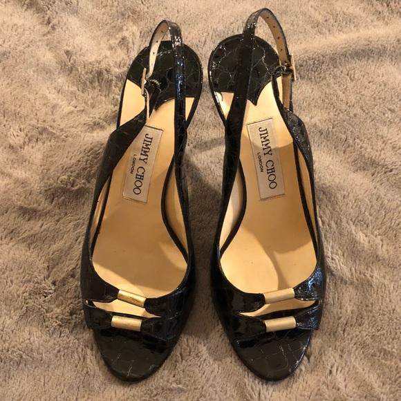 486bd683b050af Jimmy Choo Shoes - Jimmy Choo Black Croc Slingback Heels